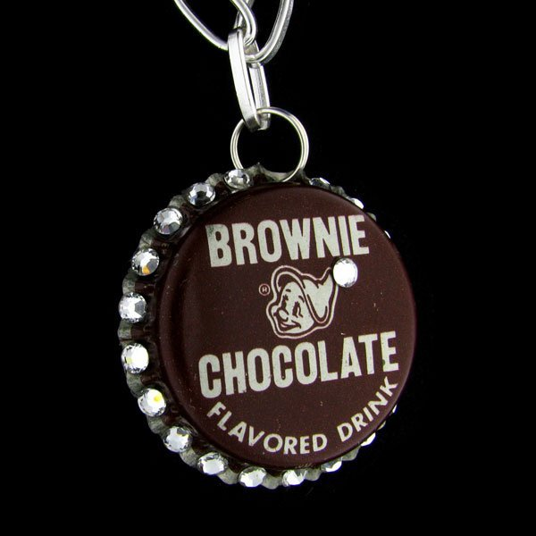 Retro Crystal Bottle Cap Necklace - Brownie Chocolate