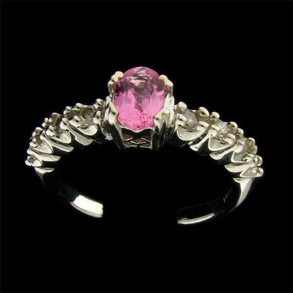 14 kt. W. Gold, 0.53CT Pink Sapphire & Diamond Ring