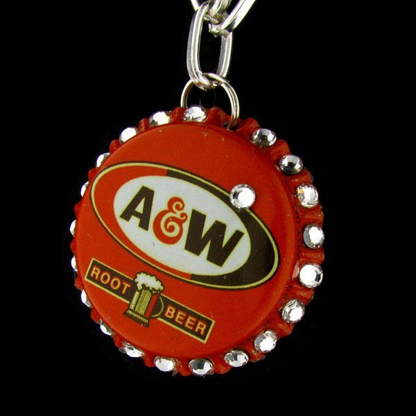 Retro Crystal Bottle Cap Necklace - A&W Rootbeer