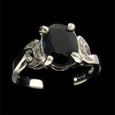 14 kt. W. Gold, 2.61CT Sapphire & Diamond Ring