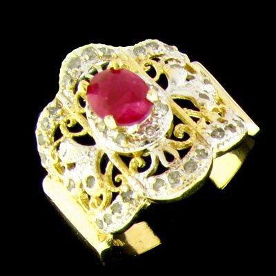 APP: 2k 14 kt. Gold, 0.74CT Ruby & Diamond Ring
