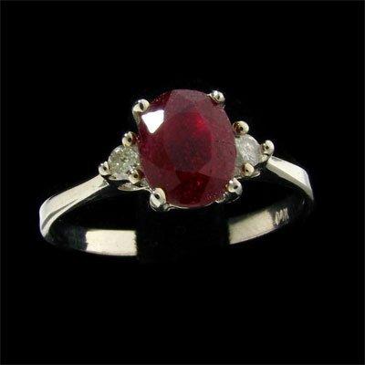 14 kt. W. Gold, Ruby & Diamond Ring