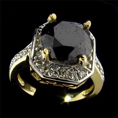 APP: 13.5k 14 kt. Y/W Gold, 5.15CT Black Diamond Ring