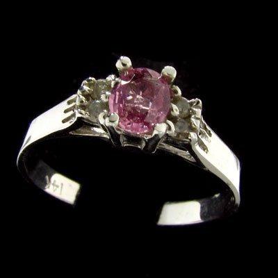 14 kt. W. Gold, 0.36CT Pink Sapphire & Diamond Ring