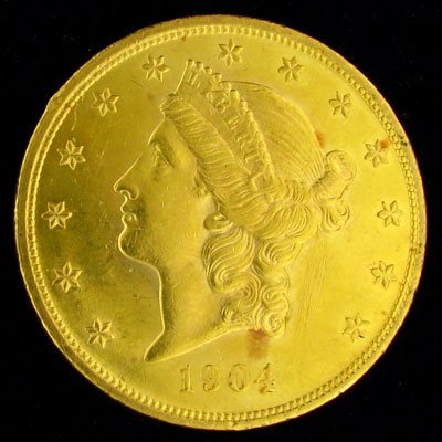 1904 $20 US Liberty Head Type Gold Coin - Investment