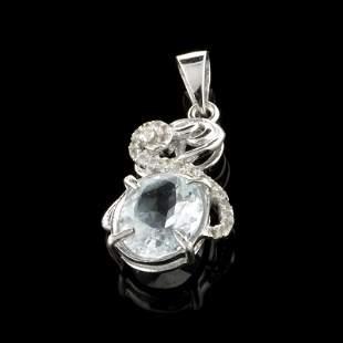 Fine Jewelry 2.35CT Aquamarine Beryl And Colorless