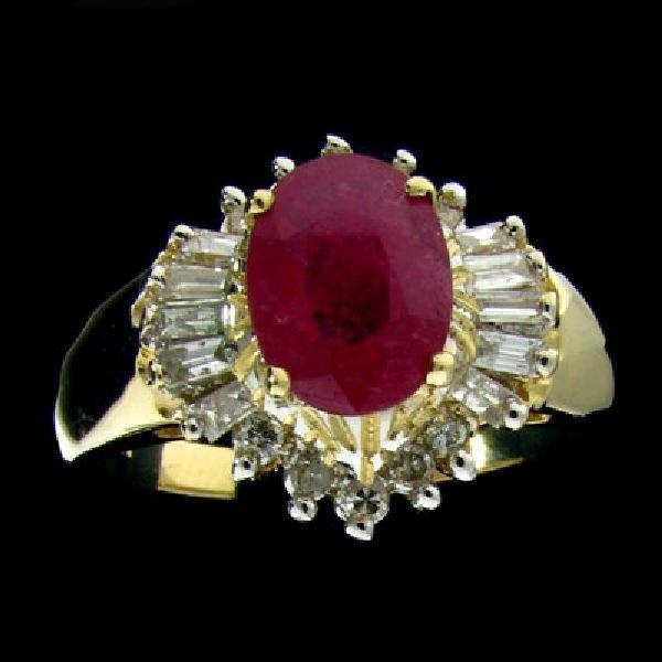 APP:$5.3k 14 kt. Gold, 1.59CT Ruby & Diamond Ring