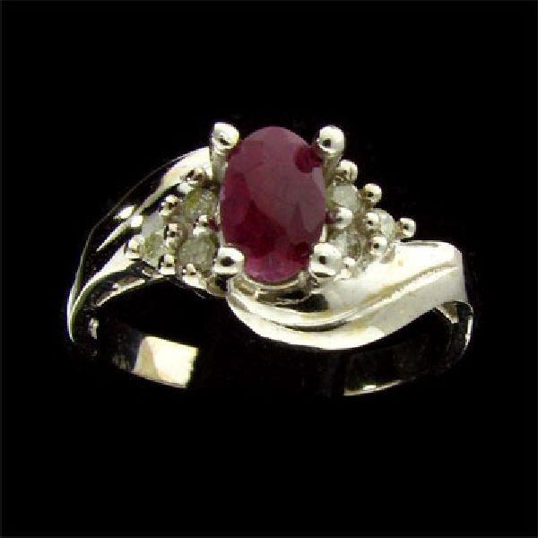 14 kt. W Gold, 0.61CT Ruby & Diamond Ring