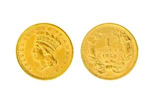 Rare 1858 $1.00 U.S Indian Head Gold Coin - Great