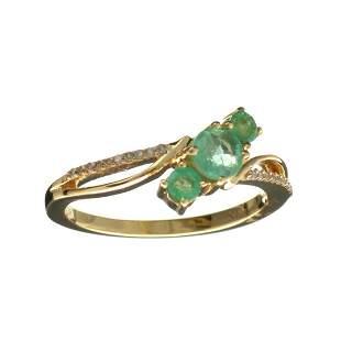 Designer Sebastian 14KT. Gold, 0.62CT Round Cut Emerald
