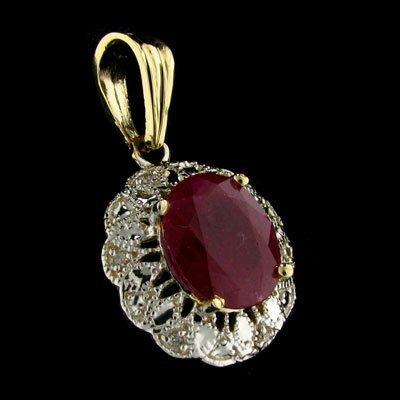 APP: 8k 14 kt. Gold, 5.94CT Ruby & Diamond Pendant