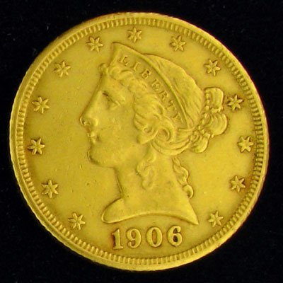 1906-D $5 U.S. Liberty Head Type Gold Coin - Investment