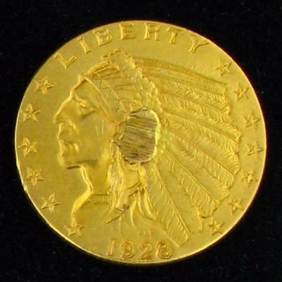 1928 $2.5 U.S. Indian Head Type Gold Coin - Investment