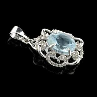 Fine Jewelry 2.34CT Aquamarine Beryl And Colorless