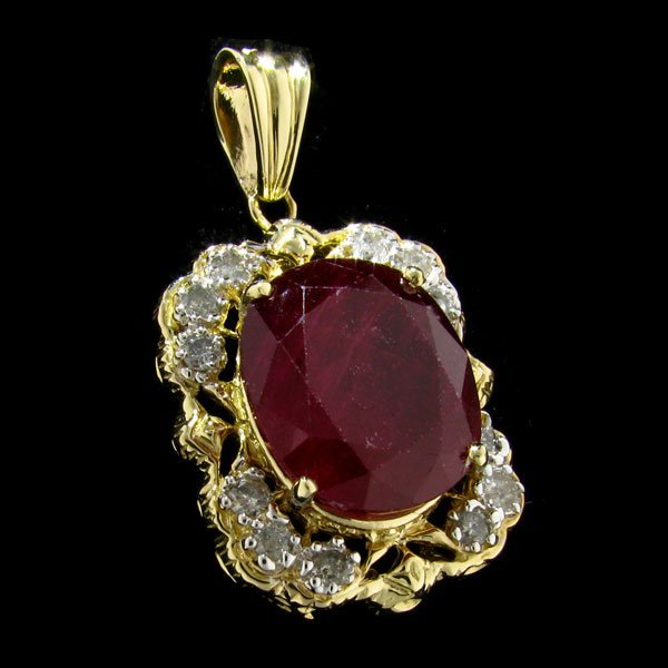 APP: 15.2k 14 kt. Gold, 18.82CT Ruby & Diamond Pendant