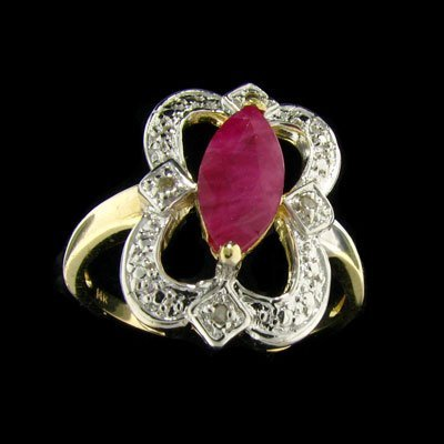 APP: 2k 14 kt. Gold, 1.35CT Ruby & Diamond Ring