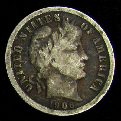 1906 Barber Head Type Dime Coin