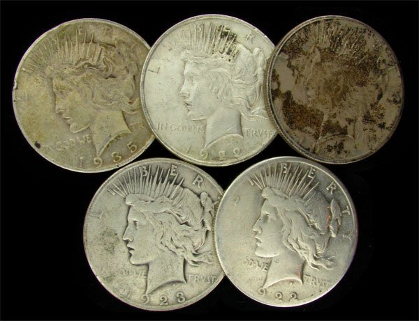 5 Assorted Peace Type Silver Dollar Coin