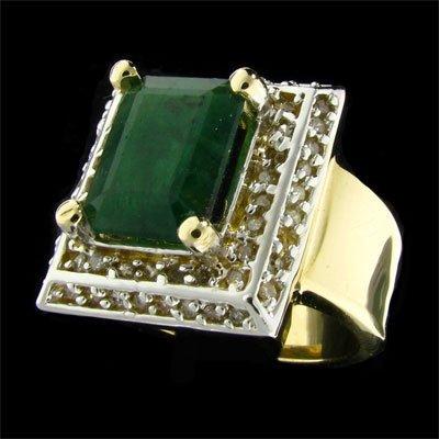 APP: 10.2k 14 kt.Y/W Gold 3.17CT Emerald & Diamond Ring