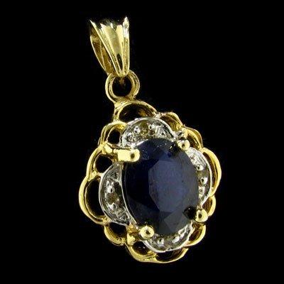 APP: 1.5k 14 kt. Gold 1.98CT Sapphire & Diamond Pendant