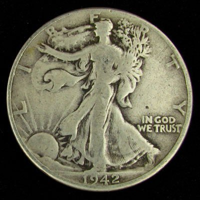 1942 U.S. Walking Liberty Half Dollar Coin
