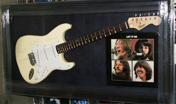 Beatles Collage w/Guitar-Laser Engraved Signatures