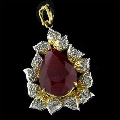 APP: 51.7k 14 kt. Gold, 23.79CT Ruby & Diamond Pendant