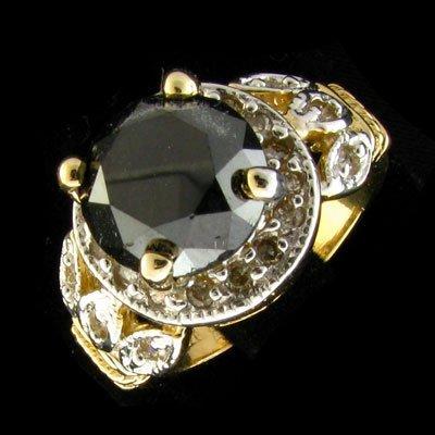 APP: 10.5k 14 kt. Gold, 4.44CT  Black Diamond Ring