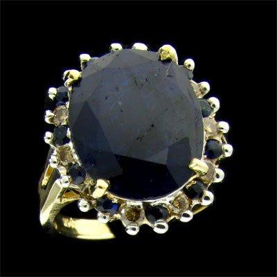 APP: 5.9k 14 kt. Gold, 6.97CT Sapphire & Diamond Ring