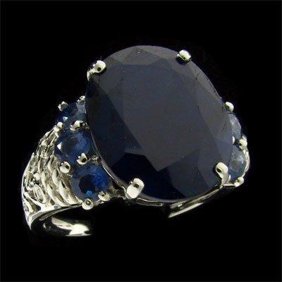 APP: 7.7k 14 kt. W Gold, 7.84CT Sapphire & Diamond Ring