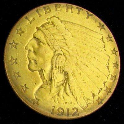 1912 $2.5 U.S. Indian Head Gold Coin - Investment