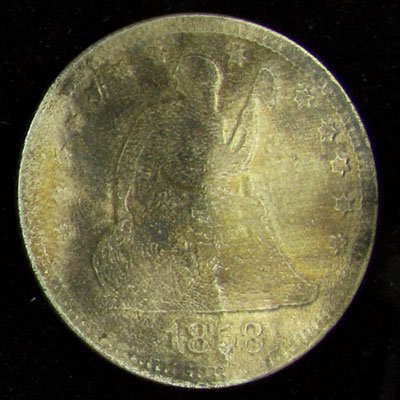 1858 Seated Liberty Quarter Dollar Coin - Investment
