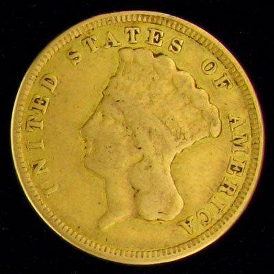 1856 $3 U.S. Indian Head Type Gold Coin - Investment