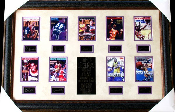 Lakers Basketball Legends Collage Facsimile Autographed