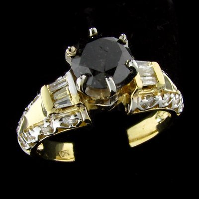 14 kt. Gold, 1.19CT  Black Diamond Ring