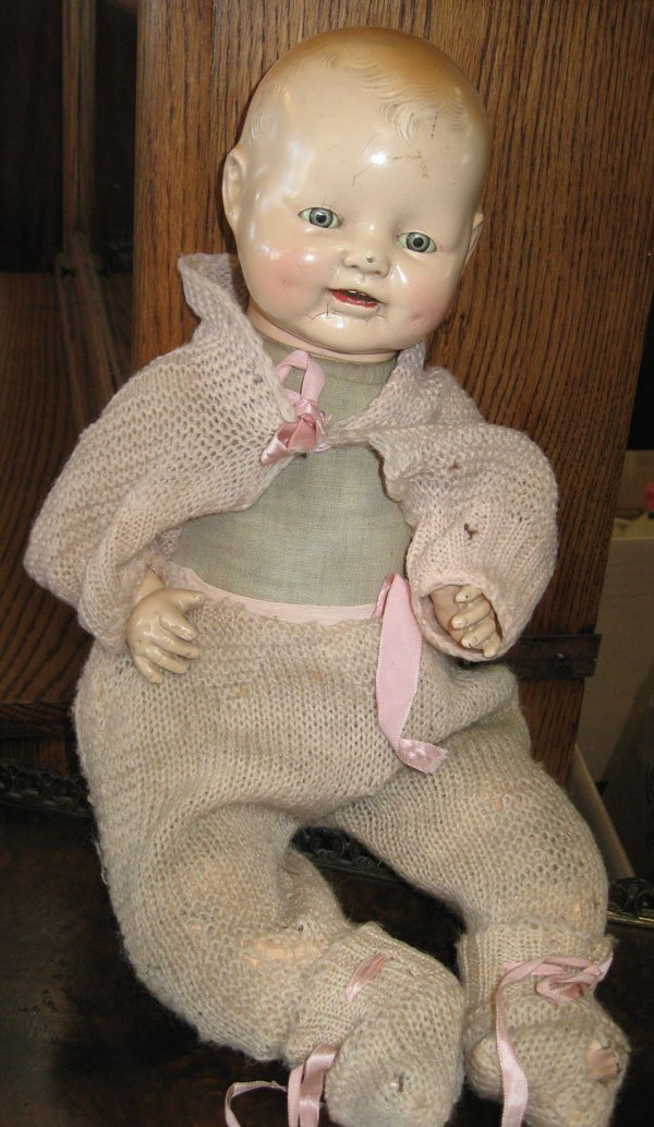 Horsman Dimples Baby Doll-Antique-Marked-Eyes Close