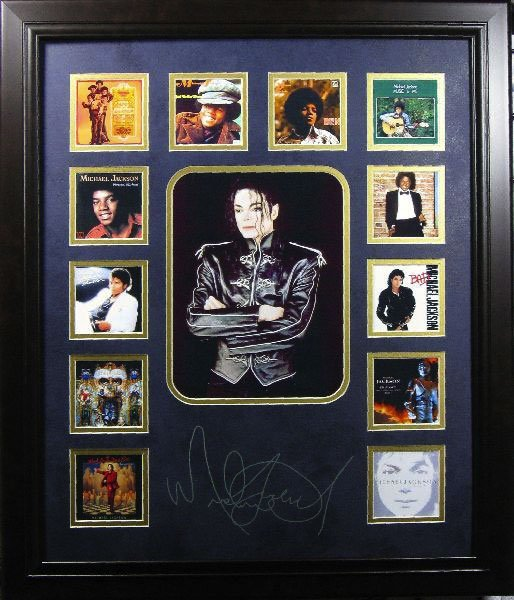 Michael Jackson Album Photo Collage -Engraved Signature