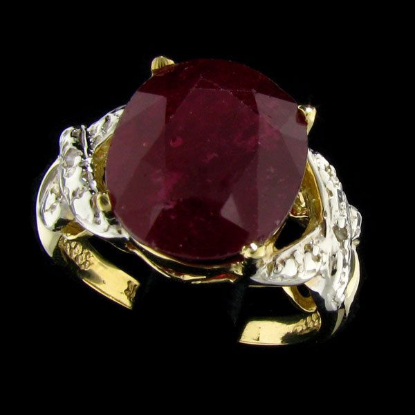 APP: 14.6k 14 kt. Gold, 10.28CT Ruby & Diamond Ring