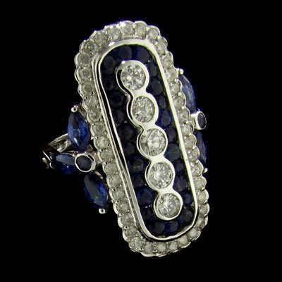 APP:6.9k 14kt.W Gold .92CT Blue Sapphire & Diamond Ring
