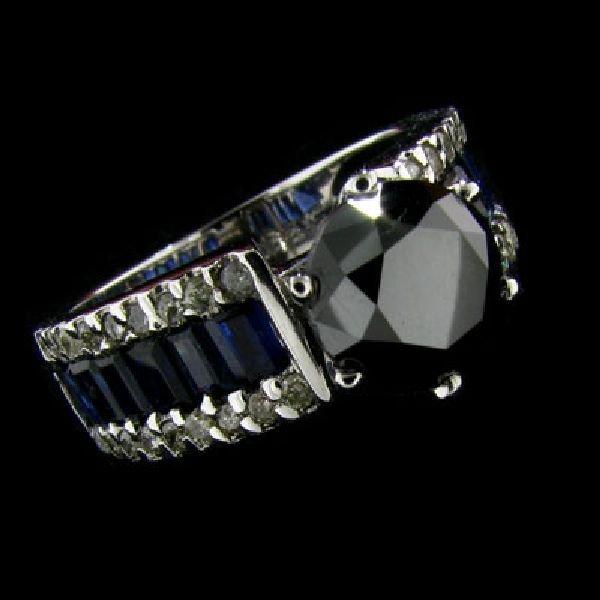 APP:10k 14 kt W Gold 2.06CT Blk Diamond & Sapphire Ring