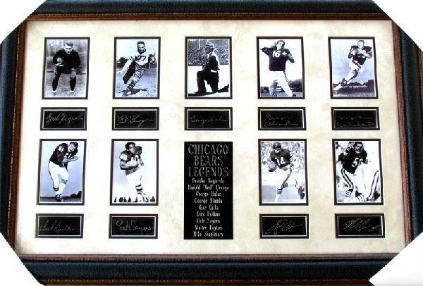 Chicago Bears Legends Collage Facsimile Autographed
