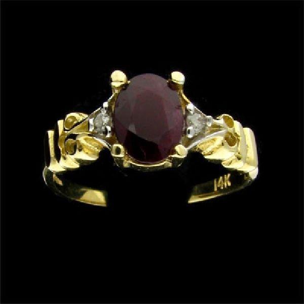 14 kt. Gold, 0.88CT Ruby & Diamond Ring