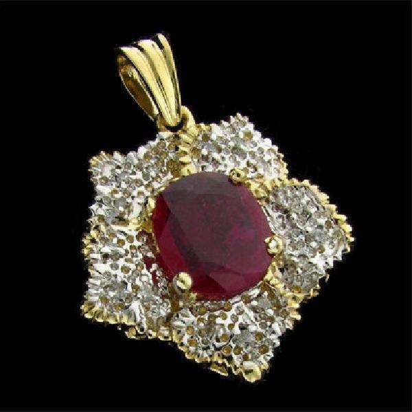 APP: $12k 14 kt. Gold, 3.88CT Ruby & Diamond Pendant