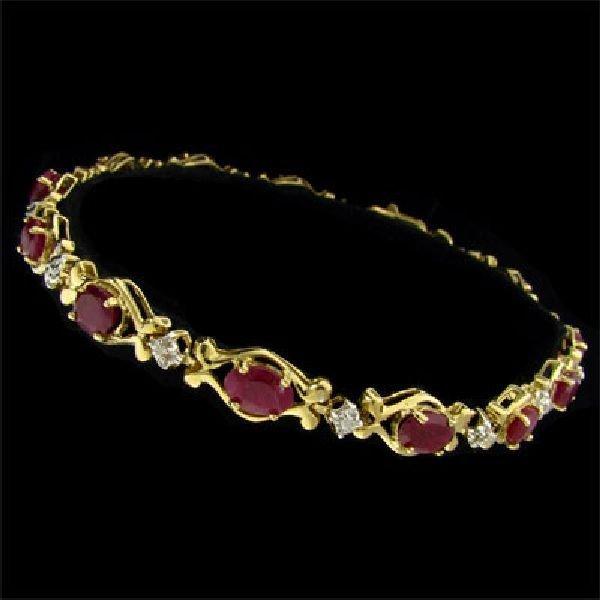 APP: $3.4k 14 kt. Gold, 6.84CT Ruby & Diamond Bracelet