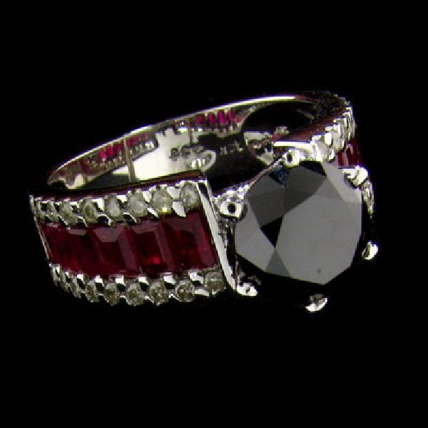 APP:12.4k 14 kt W Gold 1.97CT Black Diamond & Ruby Ring