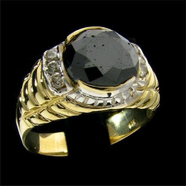 APP: $11.2k 14 kt. Y/W Gold, 4.97CT Black Diamond Ring
