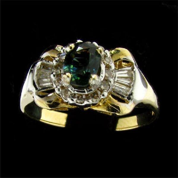 APP:1.2k 14 kt. Gold .5CT Green Sapphire & Diamond Ring