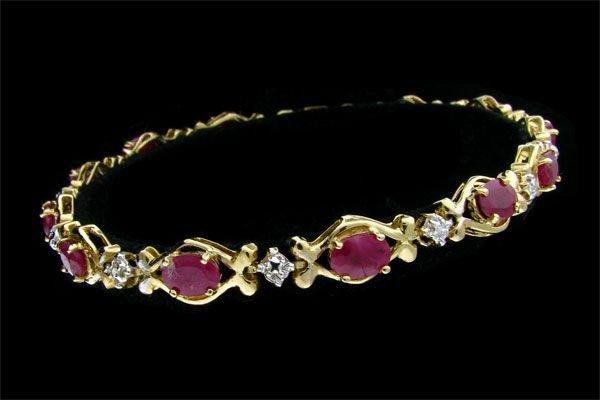 APP: $3.2k 14 kt. Gold, 5.16CT Ruby Bracelet