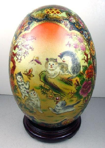 Oriental Kitten Decorated Ceramic Egg