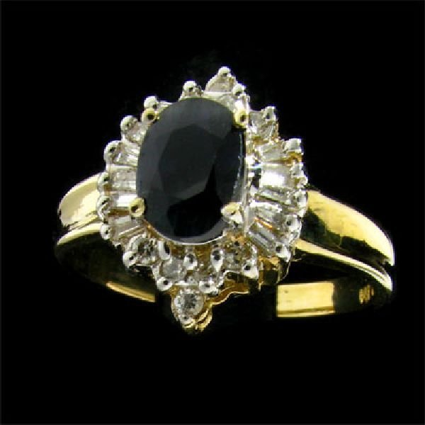 APP: $3.1k 14 kt. Gold, 1.02CT Sapphire & Diamond Ring
